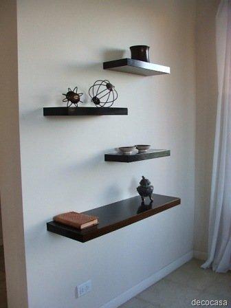 Ideas para paredes dif ciles decocasa - Estantes de madera para pared ...