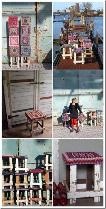 Foto Banquetas madera reciclada y crochet