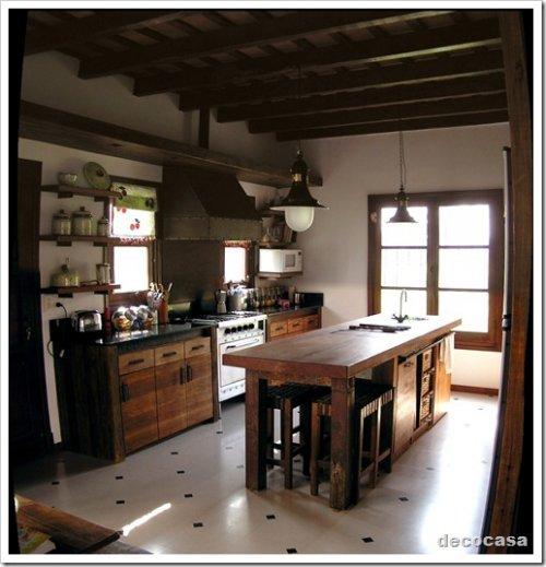 Cocina de campo madera y tiento decocasa - Cocinas rusticas de campo ...
