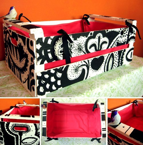 Artesanato e cia caixotes reciclados id ias for Reciclar una cama de madera