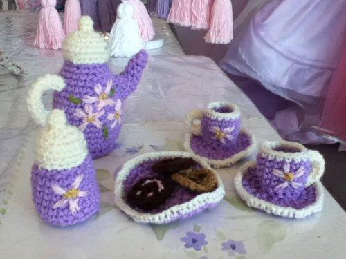 Juegos De Baño A Gancho:Juego de Te infantil de 5 piezas realizado en crochet Antique Nouveau