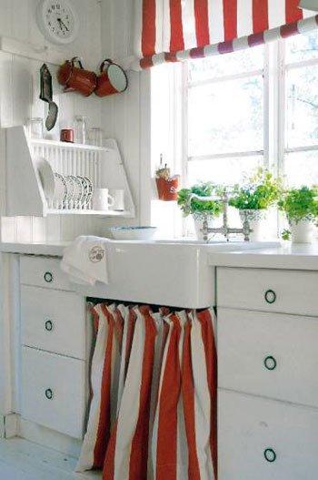 Cortinas en el bajo mesada decocasa for Mueble de cocina con pileta