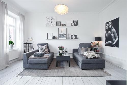 Un departamento en blanco negro y gris decocasa for Decoracion piso gris