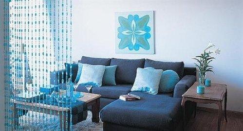 Azul en el living decocasa - Colores azules para paredes ...