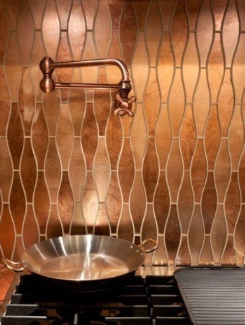 cobre cocina azulejo