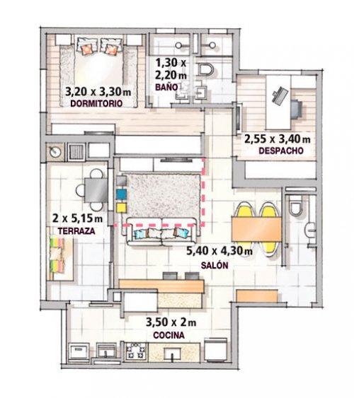 Decotour 90 mts2 modernos y coloridos decocasa for Diseno de apartamentos de 90 metros cuadrados